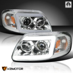 Fits 1997 2003 Ford F150 Expedition Led Drl Bar Projector Headlights Left Right