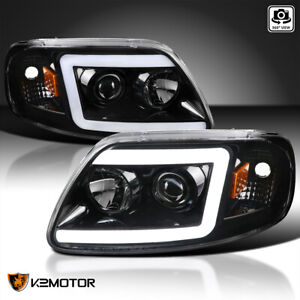 Jet Black Fits 1997 2003 Ford F150 Expedition Led Drl Bar Projector Headlights