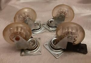 Set Of 4 Vintage Industrial Swivel Casters Rubber Clear Wheels
