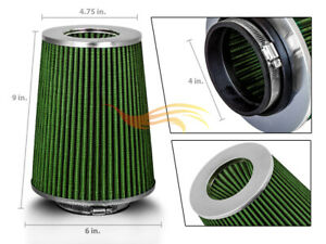 4 Green Truck Dry Type Filter High Flow Sport Cold Air Intake Cone 102mm
