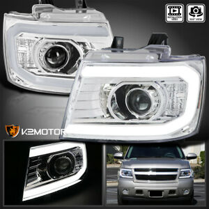 For 2007 2013 Chevy Avalanche Tahoe Suburban Led Strip Tube Projector Headlights