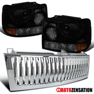 For 1999 2002 Chevy Silverado 1500 Smoke Projector Headlights Chrome Hood Grille