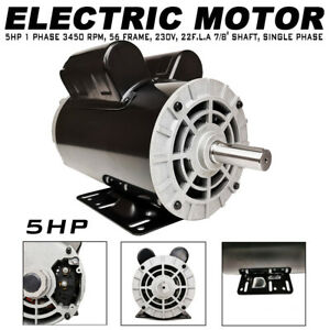 5 Hp Compressor Duty Electric Motor 22amp 1 Ph 3450 Rpm 56 Frame 7 8 Inch Shaft