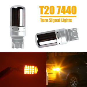Chrome Housing 7440 T20 54 Smd Bright Amber Canbus Led Bulbs Turn Signal Lights