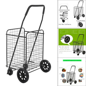 Portable Durable Metal Large capacity Supermarket Black Folding Shopping Cart Us