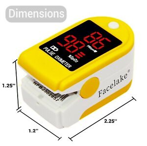 Facelake Fl400 Pulse Oximeter With Carrying Case Batteries Yellow