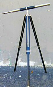 39 Telescope Antique Finish With Black Wooden Tripod Stand Brass Marine Decor