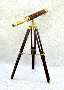 18 Brass Pirates Telescope Marine Nautical Navy Maritime With Wood Tripod Stand
