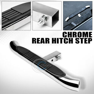 2 Stainless Chrome Trailer Towing Receiver Rear Hitch Step Bar Bumper Guard C05