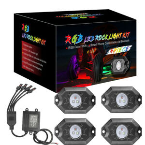 4 pods Rgb Led Rock Lights Wireless Bluetooth Music Multi color Off Road Truck