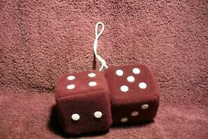 Burgandy Maroon White 3 In Hanging Fuzzy Dice Auto Truck Mirror 50s Accessory