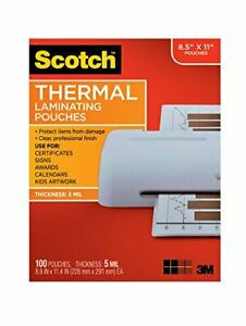 Scotch Brand Thermal Laminating Pouches 100 pack 8 9 X 11 4 Inches Letter Si