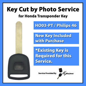 key Cut By Photo Service For Honda Philips 46 Transponder Chip Key Replacement