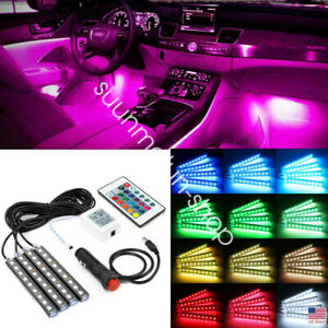 Rgb Led Glow Car Interior Lamp Under Dash Footwell Seats Inside Lighting 4x