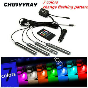 4pcs Rgb 18 Colors Motorcycle Atv 36 Led Neon Under Glow Accent Light Strip Kit