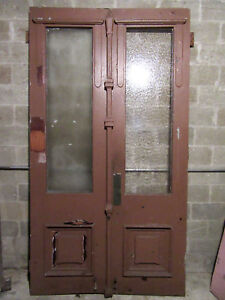 Huge Antique Walnut Double Entrance French Doors 59 X 107 Salvage