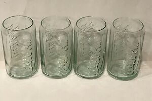 Coca-Cola Can Shaped Green Tint 12oz Glasses Cups Tumblers Coke Embossed 4pk