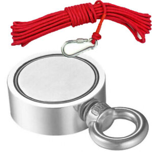 400 1100lb Fishing Magnet Kit Strong Neodymium Pull Force Treasure Hunt 10mrope