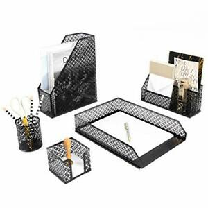 Black Desk Organizer 5 Piece Desk Accessories Set