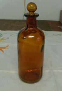 Vtg Antique Amber Apothecary Chemist Medicine Bottle W Glass Stopper Finial