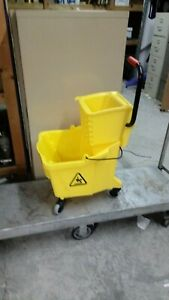 35 Quart Commercial Mop Bucket With Side Press Wringer Yellow