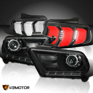 Fit 2010 2012 Mustang Black Retrofit Projector Headlights jet Black Led Tail