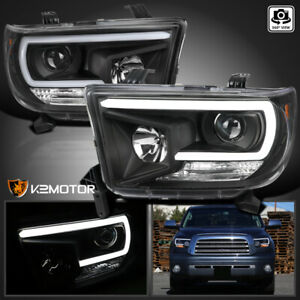 For Black 2007 2013 Toyota Tundra 2008 Sequoia Led Drl Bar Projector Headlights
