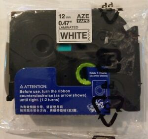 Aze White Laminated Label Maker Tape 12mm 47 Compatible W Brother P touch