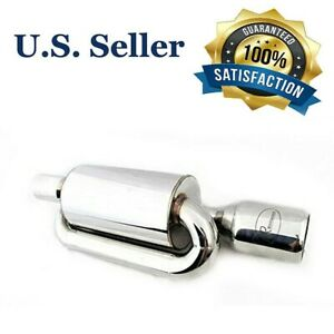 New4 Outlet 2 5 Inlet Universal Jdm Stainless Steel Twin Loop Exhaust Muffler