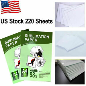 220 Pcs A4 Dye Heat Sublimation Paper Print Iron On Mug Polyester Cotton T shirt