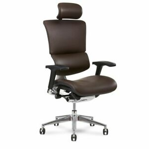 X4 Leather Executive Office Chair With Headrest Brown Leather