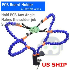 Soldering Tool Pcb Circuit Board Holder Flexible 2 Arm Welding Tools Black