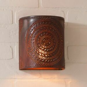 Primitive New Chisel Wall Sconce Light In Rustic Tin