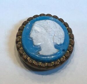Antique Waistcoat Button Glass Set In Metal Florence Nightingale 5 8