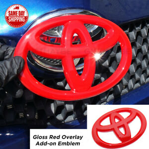 For Toyota 4runner Camry Prius C Red Front Grille Overlay Add On Logo Emblem