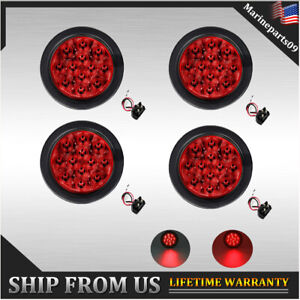 4x Sealed Truck Trailer Led Light Kit Round Red Stop Turn Tail Brake Lights