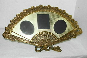 Vintage Brass Victorian Style Fan Shaped Picture Frame W Easel Back