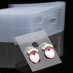 100xclear Professional Type Plastic Earring Studs Holder Display Hang Card Brpj