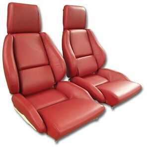 86 88 Corvette C4 Mounted Seat Upholstery Covers Red Leather With Foam Set New
