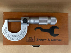Brown Sharpe 0 1 Outside Mic Chrome Straight Line With Friction Thimble