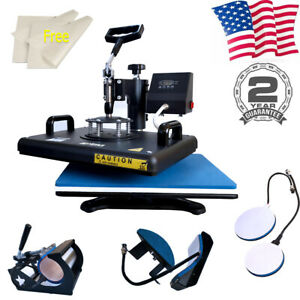 5in1 Heat Press Machine Swing Away Sublimation For Combe Kit T shirts Mug Plates