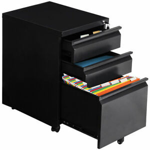 Black Home Office 3 Drawers Mobile File Cabinet Rolling A4
