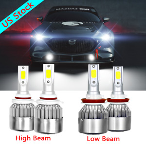 4x Led Headlights Combo Kit High Low Beam For Mazda 3 2010 2017 Mazda3 Sport