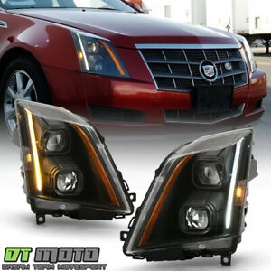 2008 2014 Cadillac Cts Halogen Black Led Switchback Signal Projector Headlights