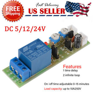 Dc 5v 12v 24v Time Delay Relay Module Circuit Timer Timing Board Switch Trigger