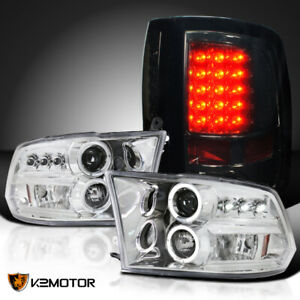 For 2009 2017 Ram 1500 2500 3500 Halo Projector Headlights Smoke Led Tail Lamps