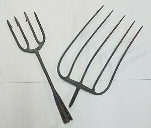 Vintage Antique Farm Tools Hay Pitchfork Fish Gig Fork Cast Iron Hand Forged