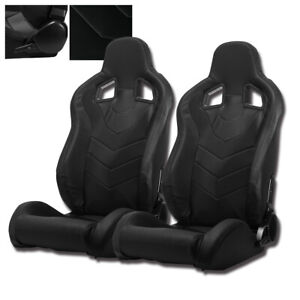 Reclinable Black Pvc Punching Leather Left Right Racing Bucket Seats Slider Pair