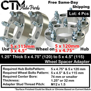 4pcs 1 25 Thick 5x4 75 5x120 To 5x4 5 5x115 Wheel Adapter Fit Chevy Gmc More