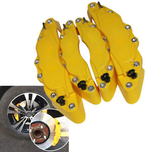 Hot 4pcs 3d Style Car Universal Disc Brake Caliper Cover Front Rear Kits Yellow